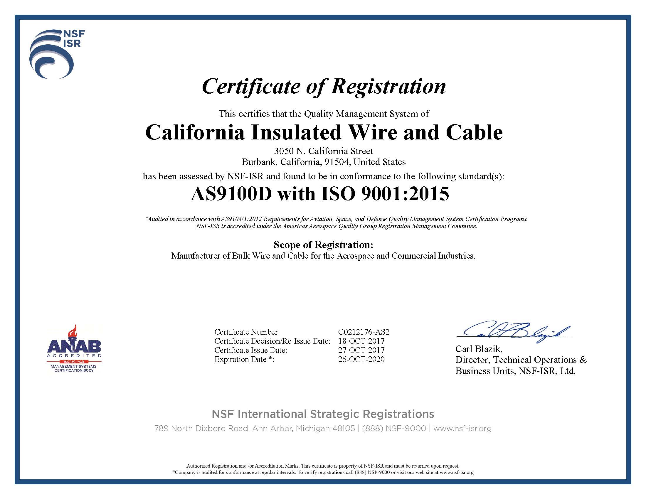 California Insulated Wire & Cable :: | AS9100D